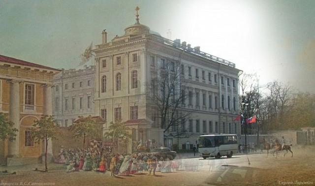 Городские пейзажи Петербурга в прошлом и настоящем 9 (640x377, 61Kb)