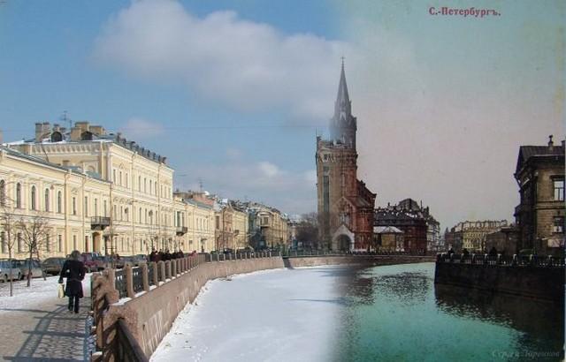 Городские пейзажи Петербурга в прошлом и настоящем 13 (640x410, 62Kb)