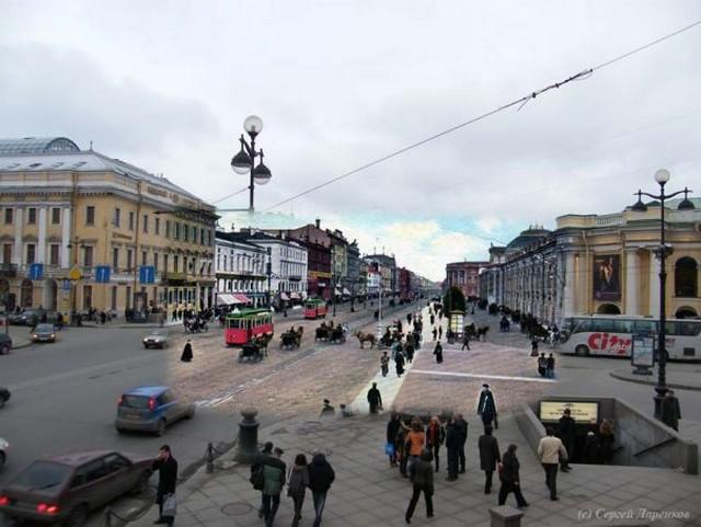 Городские пейзажи Петербурга в прошлом и настоящем 35 (640x481, 73Kb)