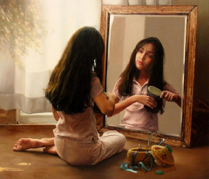 Mehrdad Jamshidi - Girl at the Mirror (2006) (700x600, 47Kb)