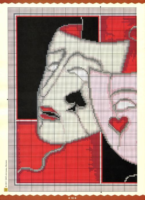 Вышивка крестом маски схемы