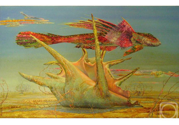 15 Рыба летит над раковиной, лежащей на песке (690x483, 54Kb)