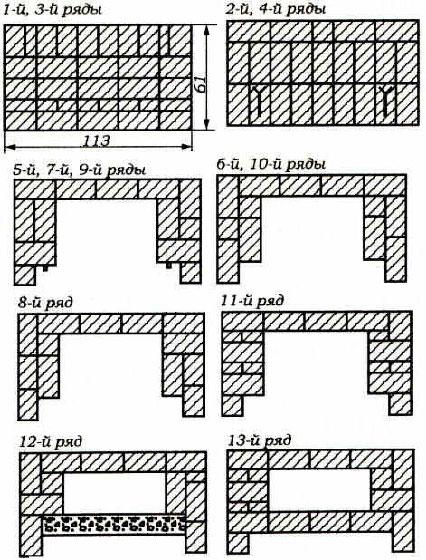 фото и схема по рядам кладки современных печей каминов - Рабочие схемы и описания в работе.