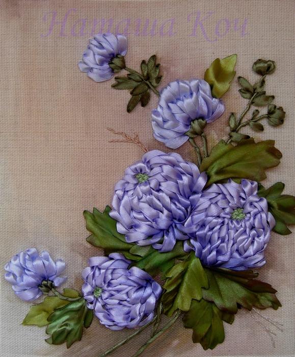 Цветы вышивка лентами видео