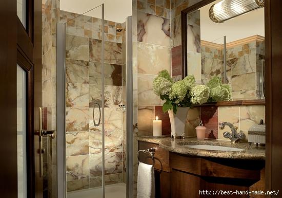 Large glass mirror bathroom