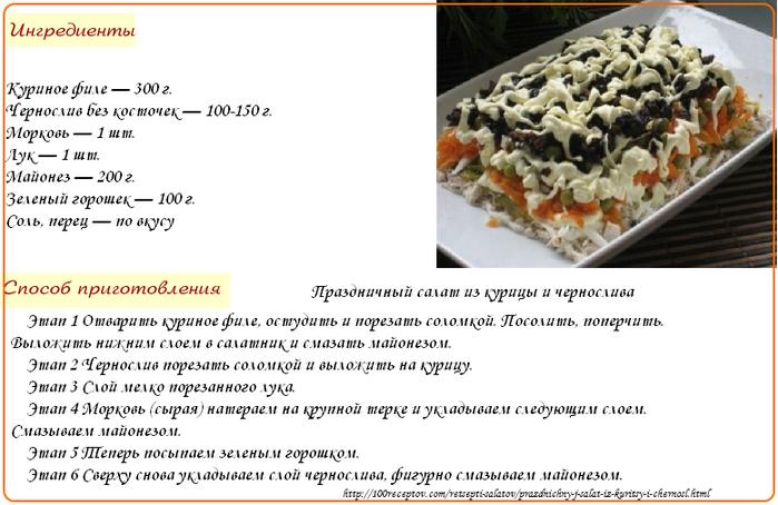 Праздничный салат из курицы и чернослива (700x454, 265Kb)