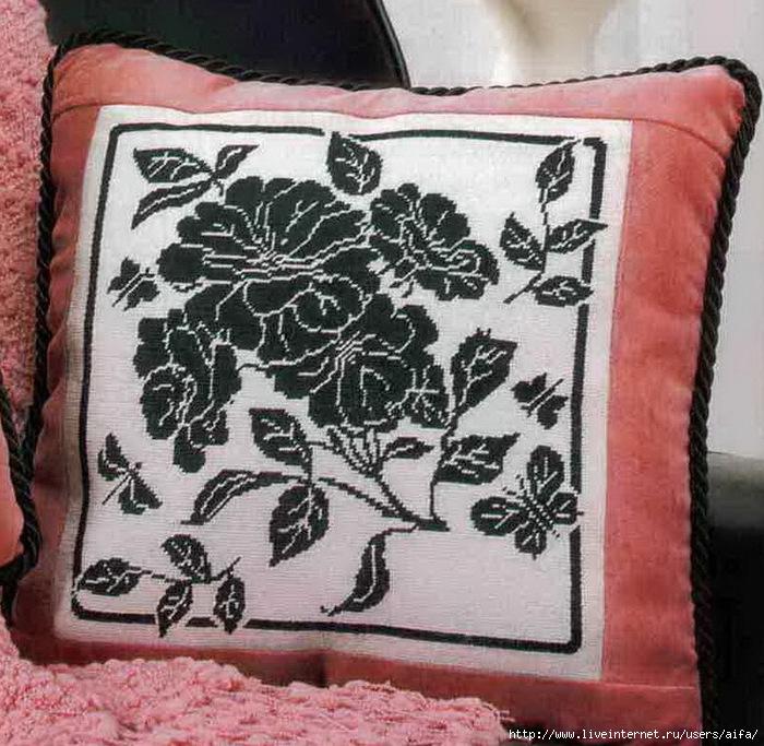 Вышивка крестом, схемы Подушка, моно-цветы.