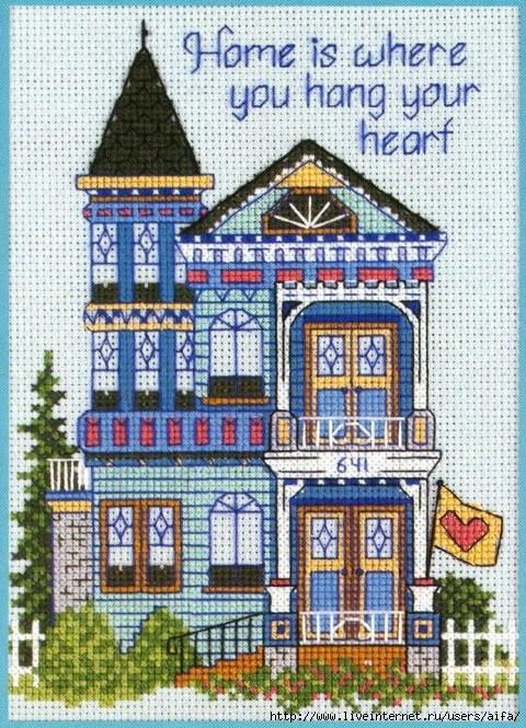 Рисунки дома для вышивки