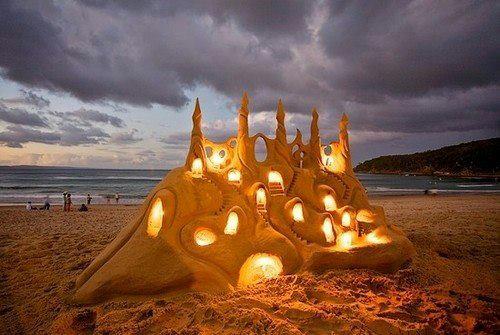 Песочный замок со светом, Нуза, Австралия (500x335, 206Kb)