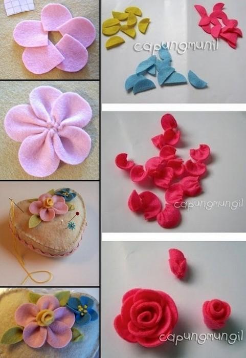 Делаем цветы из фетра
