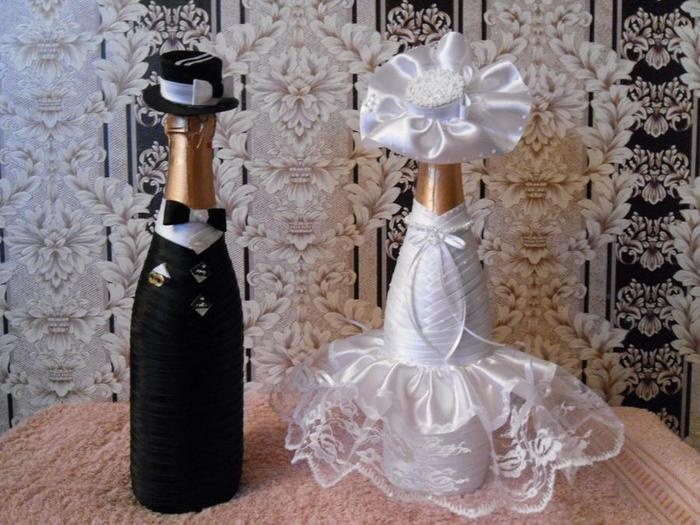 Украшение свадебных бутылок с шампанским своими руками