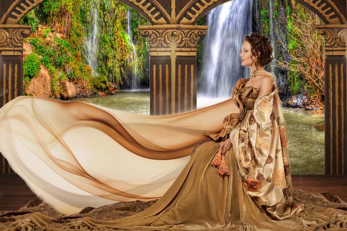 Шаблон женский - Прозрачны струи водопада (700x466, 438Kb)