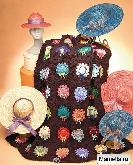 Плед с разноцветными шляпками крючком (1) (467x577, 338Kb)
