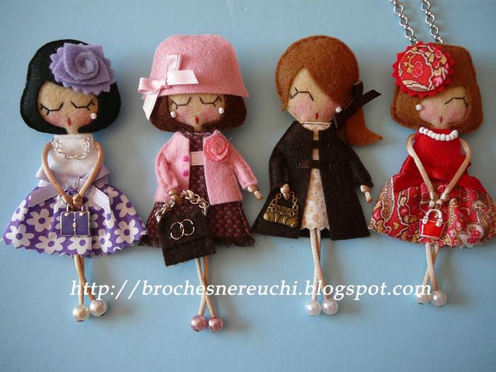 Брошки из фетра куколки своими руками
