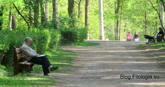 Читающий мужчин на скамейке в парке Покровское-Стрешнево в Москве (700x371, 68Kb)