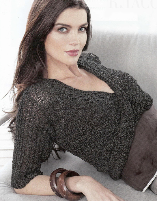 Пуловер с перекрученным передом и юбка