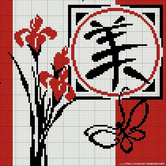 Вышивка крестом в японском стиле схемы