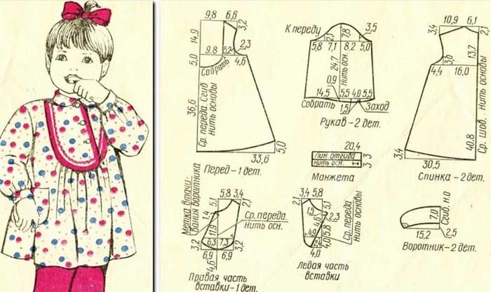 Старые Выкройка Детской Блузки На 3 Года