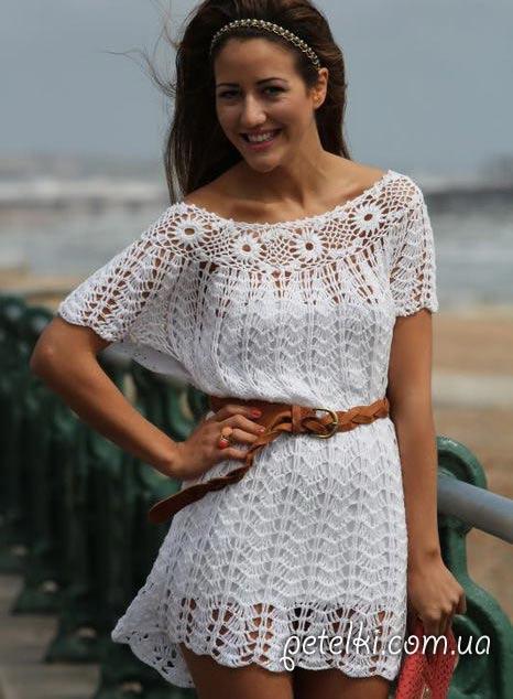 Крючком вязаное летнее платье схема