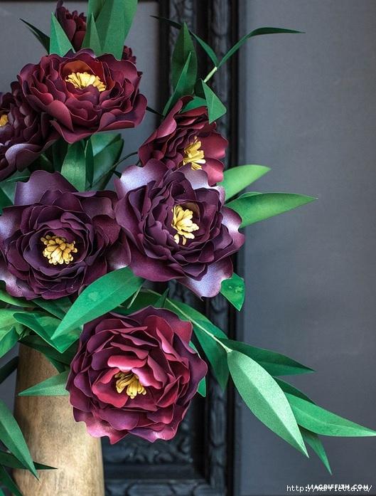 ПИОНЫ - цветы из декоративной металлизированной бумаги для скрапбукинга (1) (529x697, 258Kb)
