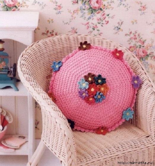 Круглая цветочная подушка крючком. Схема (1) (523x560, 201Kb)