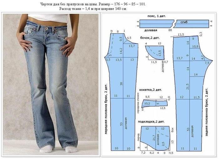 Какие брюки сшить из джинсовой ткани 70