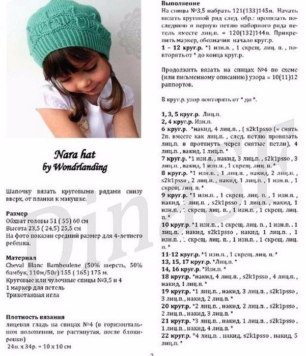 Теплые вязаные шапки для девочек со схемами и описанием