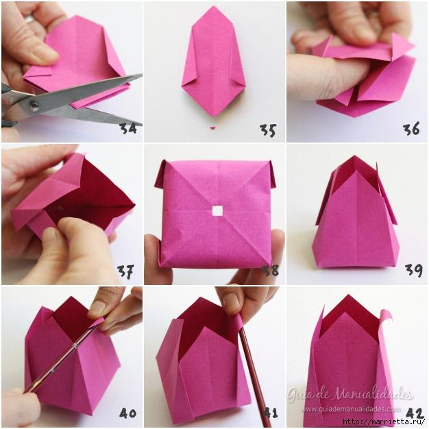 Складываем тюльпаны в технике оригами (9) (626x626, 191Kb)