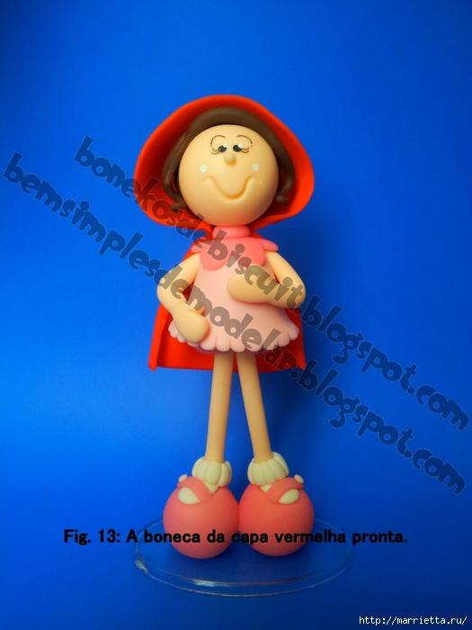 Красная шапочка из холодного фарфора. Фото мк (12) (525x700, 209Kb)
