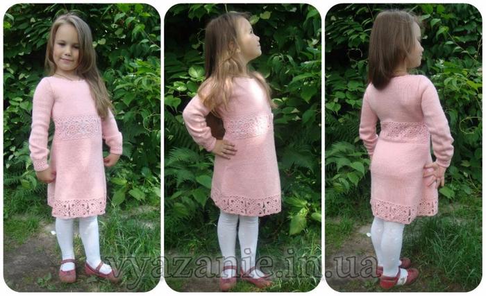 Теплое платье девочке связать