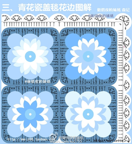 Плед квадратными цветочными мотивами крючком (11) (440x480, 198Kb)