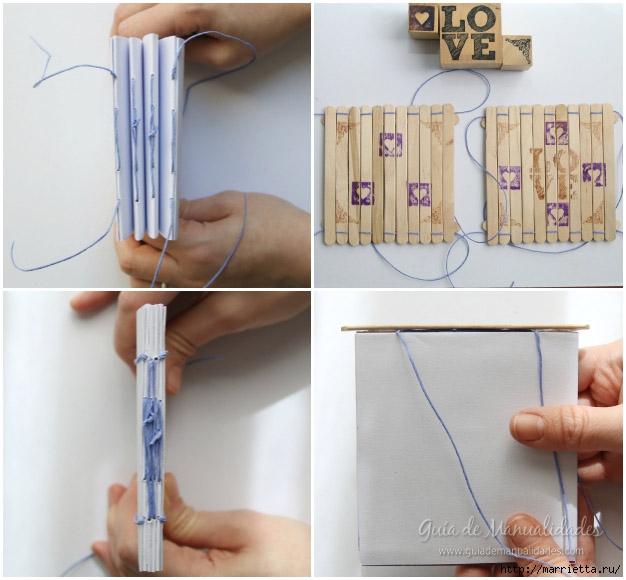 Записная книжка своими руками с обложкой из палочек от мороженого (5) (626x580, 176Kb)