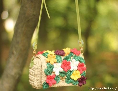 Вязание крючком. Летние сумочки с цветами (5) (493x381, 100Kb)
