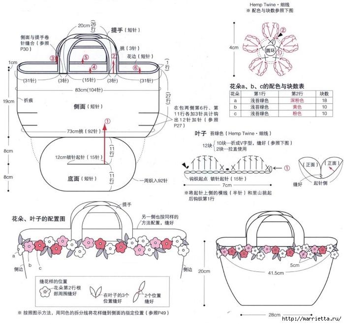 Вязание крючком. Летние сумочки с цветами (19) (700x658, 236Kb)