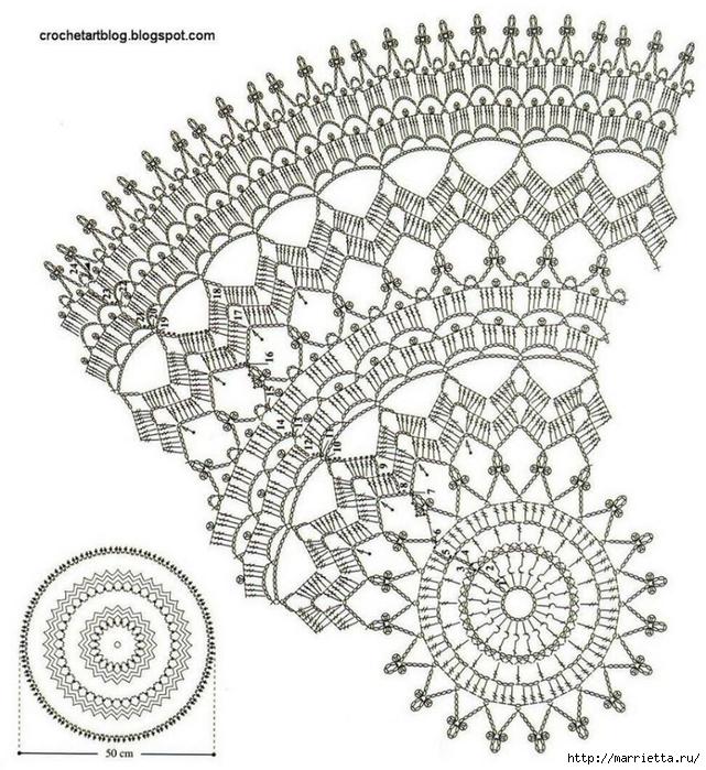Круглые салфетки крючком. Схемы (3) (641x700, 374Kb)