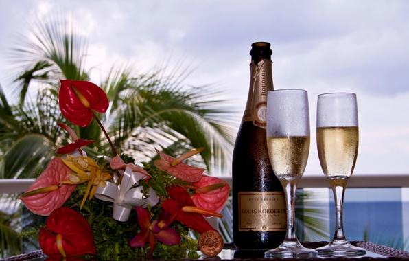 красивые цветы и шампанское (596x380, 81Kb)