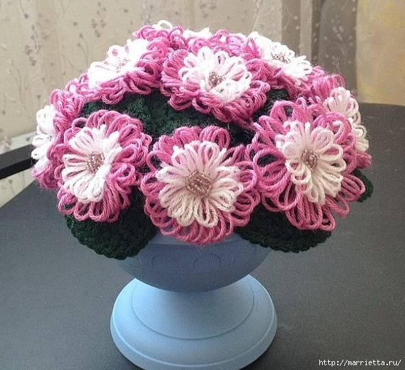 Цветы из цветного шпагата. Плетение на луме (1) (591x540, 233Kb)