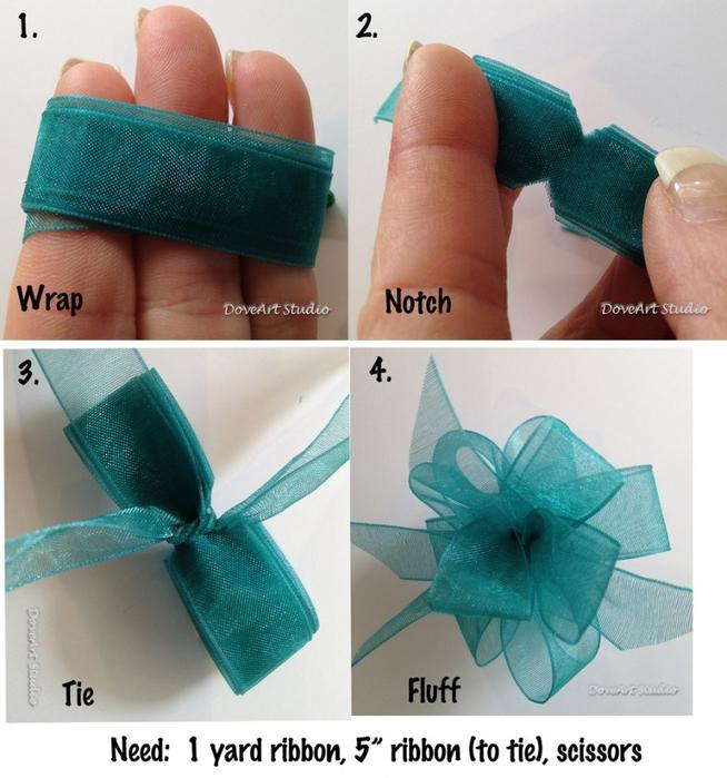 Бант на подарок из атласной ленты своими руками