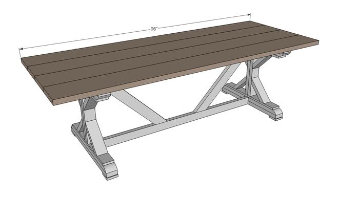 for Post trestle farm table plans