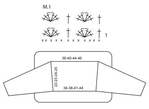 Вяжите 1 ст с/2н в 4-ю в. п. от крючка (= 2 ст с/2н), * пропустить 1... Сборка вязаного болеро Пришить рукава.
