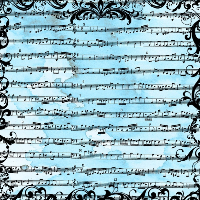 free digital scrapbook paper_blue grunge music sheet background (700x700, 515Kb)