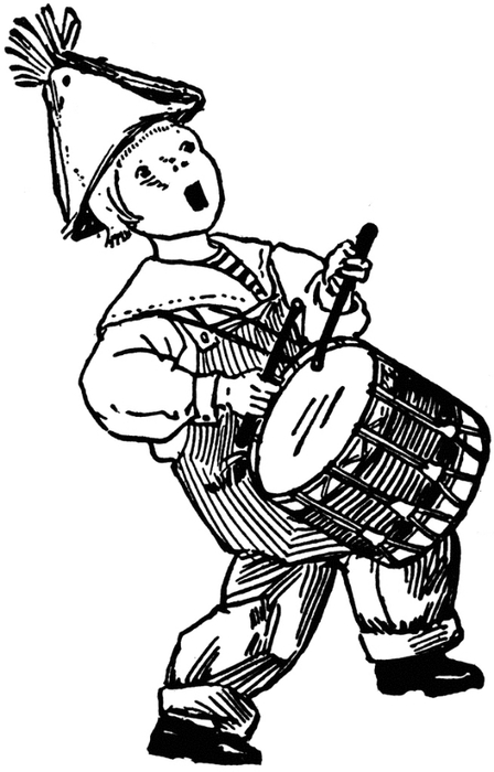 free vintage digital stamp_boy playing drums (448x700, 121Kb)