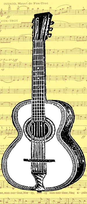 free vintage digital stamp_guitar collage (300x700, 163Kb)