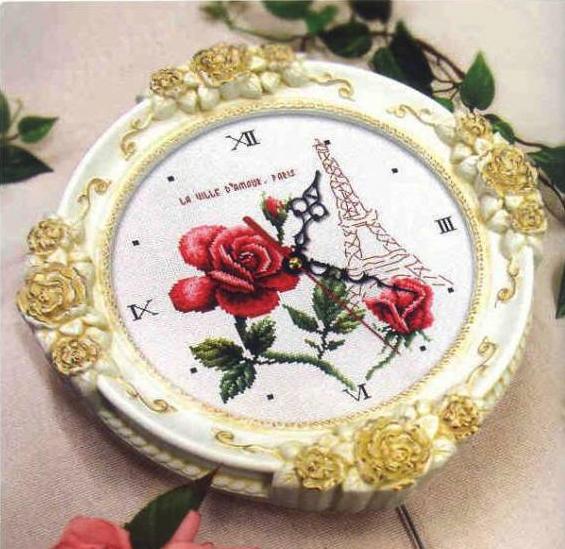 """Схема вышивки часов """"Париж"""""""