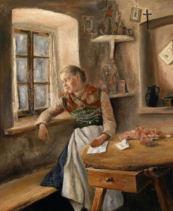 Otto Pilz (1846-1910) Girl at the Window (571x700, 371Kb)