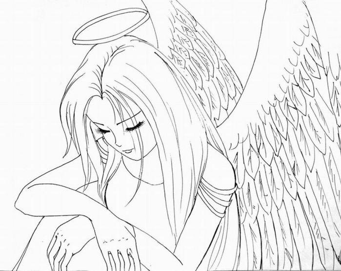 Рисунок ангела с крыльями