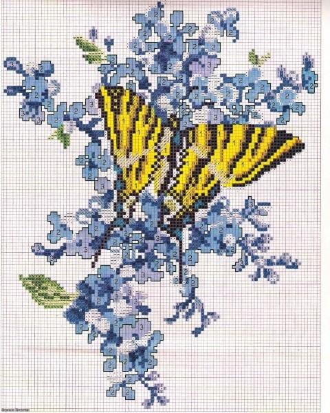 Бабочки на цветах. Вышивка.
