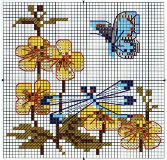 【外网搜集整理】十字绣花草蝴蝶昆虫图案图解2