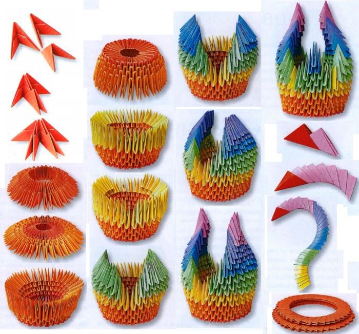 Оригами из бумаги лебедь