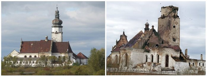Бернардинський монастир (16 ст.) до й після пожежі. Село Жвирка. Львівська область (700x259, 40Kb)